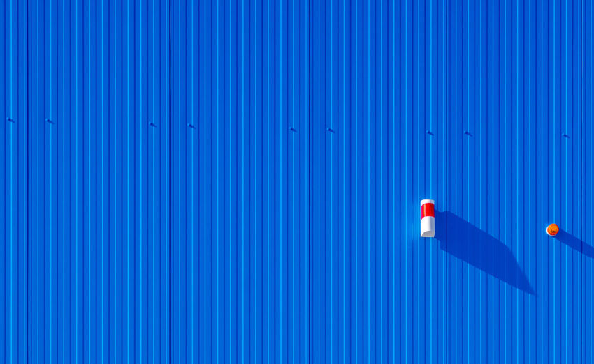 High angle view of  blue wall