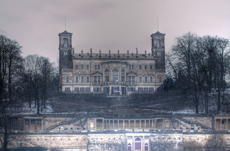 Schloss Albrechtsberg by the river Elbe. Architecture Castle Castles Cloudy Dresden Winter Wintertime Architecture Building Exterior Built Structure Day Façade Germany History No People Outdoors Sky Travel Destinations