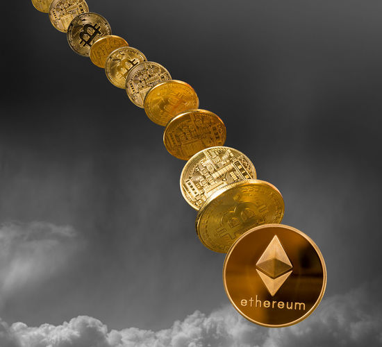 Illustration of bitcoins and ethereum coins and their rise as investments in the cybercurrency exchange markets Collapse Gold Market Trading Bitcoin Bitcoin Mining Block Chain Blockchain Bubble Cash Coin Coins Computing Cybercurrency Ether Ethereum Fall Finnc Fortune Investment Price Rise Wealth