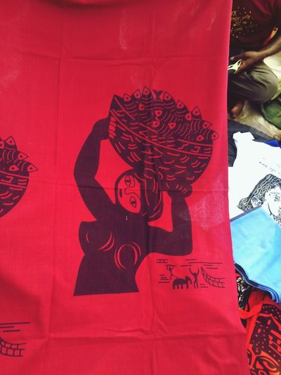 Fisher woman folk art Blockprint Illustration Fisher Woman Fish Folkart Linocut Red Art And Craft Creativity Representation One Person Text Human Representation