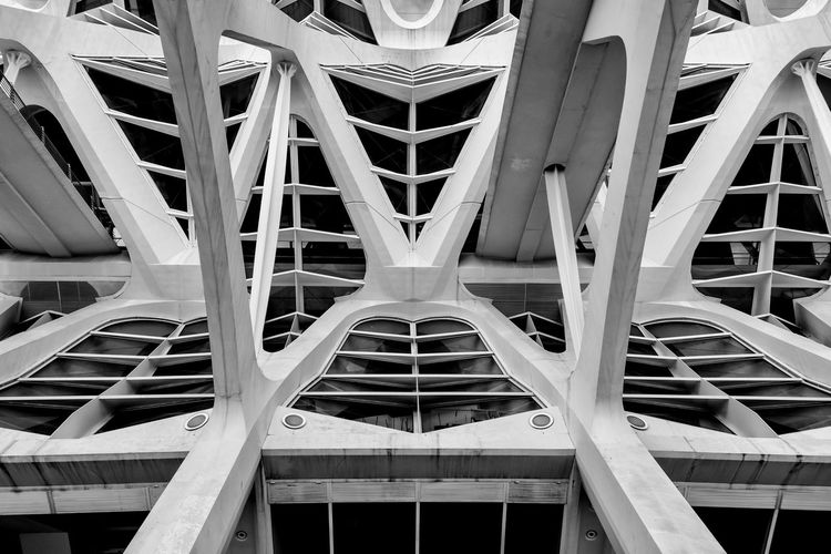 Columns of building in Valencia. Valencia, Spain Architectural Feature Architecture Architecture And Art Backgrounds Building Building Exterior Built Structure Ceiling Close-up Day Design Directly Below Full Frame Geometric Shape Low Angle View Metal Modern No People Outdoors Pattern Shape Travel Destinations