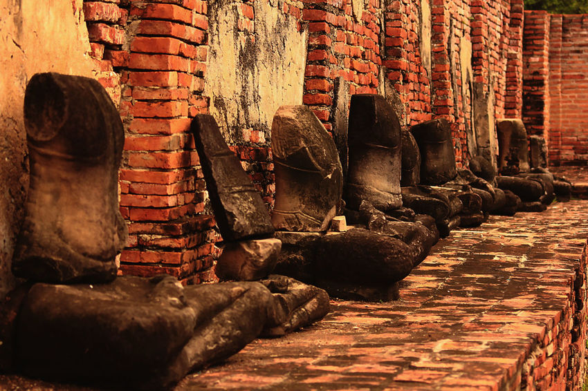 Old Buddha in AYUTTHAYA province, Thailand Old Buddha Ancient Ancient Civilization Architecture Art And Craft Belief Brick Building Built Structure History No People Old Old Buddha Statue Old Buddha Image Place Of Worship Religion Representation Sculpture Spirituality Statue The Past Wall