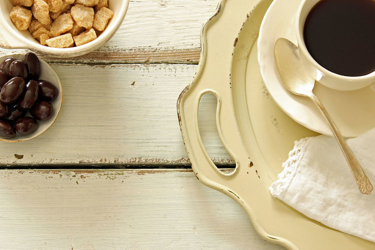 Background Border Breakfast Brunch Chocolate Almonds Coffee Coffee Break Cup And Saucer Design Directly Above Food And Drink Linen Napkin Mock Up Morning Coffee Serving Tray Snack Styled Sugar Bowl Sugar Cubes Sweets Table Vintage White White Wood