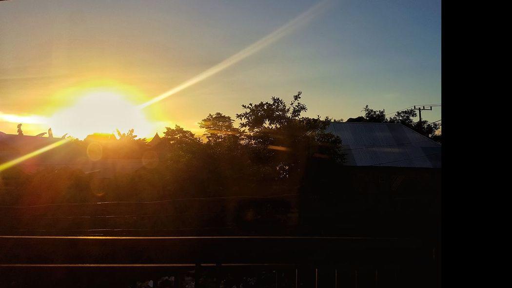 sunrise 🌞 Tree Sunset Sunlight Sun Sky Sunbeam Sunrise Sky Only Solar Flare Lens Flare Light Beam Settlement Building Residential Structure