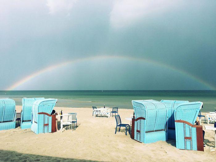 Beach Land Water Sea Rainbow Beauty In Nature Sand