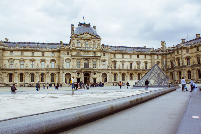 Capital Cities  Europe France Glass Louvre Museum Paris Paris, France  Pyramid Sky Tourist Attraction  Tourist Destination