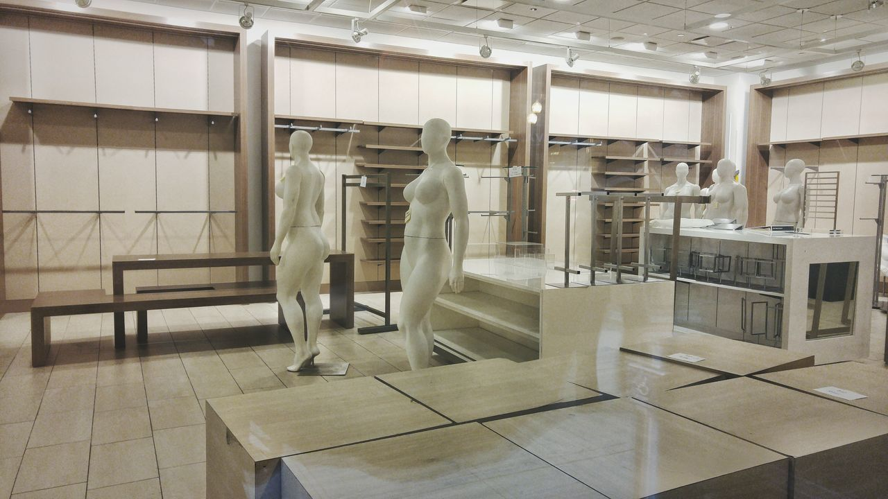 indoors, standing, rear view, men, full length, sculpture, real people, one person, day, people