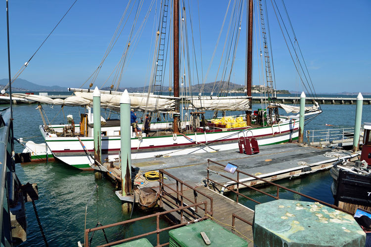 The Alma 1 Scow Schooner 1891 Flat-bottomed Wooden-hulled 80 Ft. Moored Anchored Hyde Street Pier San Francisco CA🇺🇸 The Alma Built To Carry Bulk Cargo Hay,lumber & Salt Gasoline Engine Installed 1926 Used As Oyster Dredger Till 1957 Purchased By State Of California 1959 Restored In 1964 National Historic Landmark National Register Of Historic Places 75000179 San Francisco Maritime National Historic Park San Francisco Bay Harbor Waterfront Wet Berths The Vessel I'll Be Sailing On Today