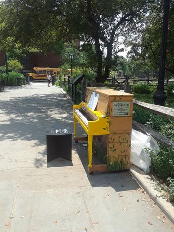 Piano at the park Musical Instrument MusicEverywhere Music <3 Green TreeShadow Sunlight Freshness Tranquil Scene Outdoors Nature Children Park Summer Flower P Piano🎶 Park Scenicview Yellow And Green Beauty In Nature Phoneography Background Photography Brooklyn Nyc