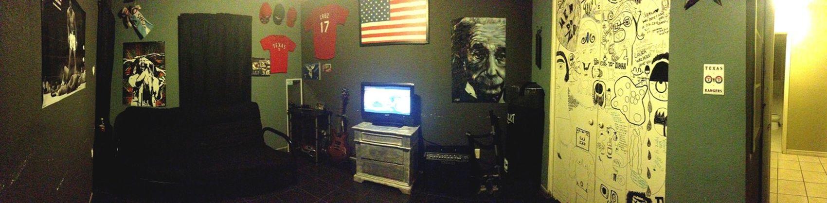 Panoramic view of my room!(: think it looks pretty badass