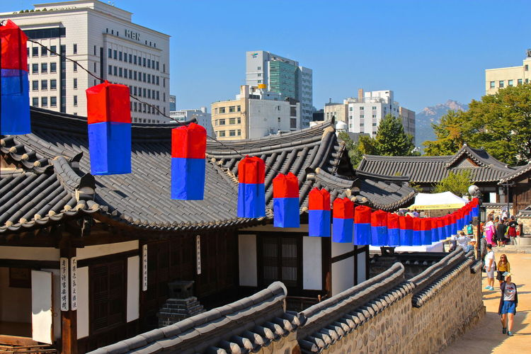 Lanterns hanging by traditional buildings