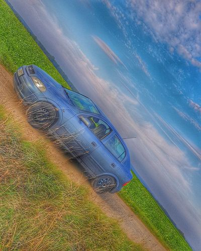 Car Car Opel Opel Astra Opel Astra G Blue Sky Blauer Himmel Blue Car Sky Driving Drive Beach Aerial View Water Rural Scene Agriculture High Angle View Sky Grass Landscape