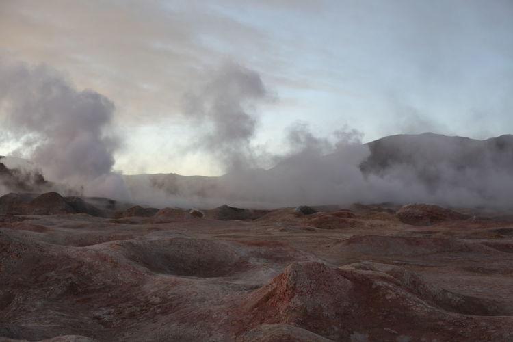 Steam rising from geyser at salar de uyuni