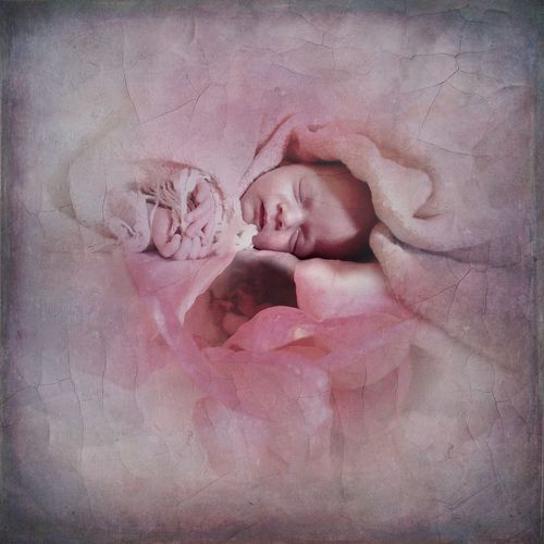 Digital composite image of baby sleeping