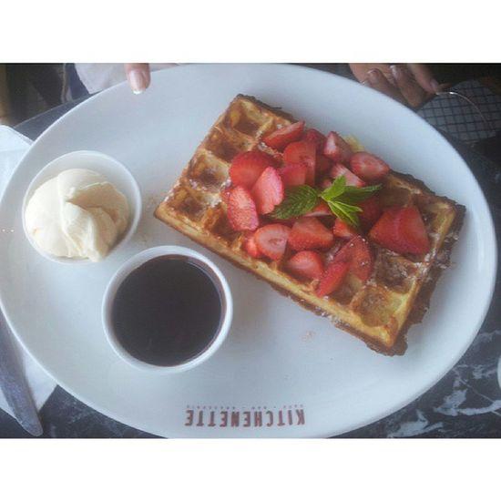 I really want like this now Waffle Strawberry ChocolateSauce Icecrem