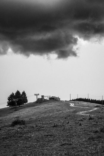 Darkness. ©FILIPPI GIULIA PHOTOGRAPHY. All rights reserved. Dark Darkness Field Nature Panorama Path Tree View Weather Wood Blackandwhite Climbing Cloud - Sky Forest Grunge House Landscape Light And Shadow Outdoors Photographer Photography Scenics Sky Storm Cloud Thunderstorm