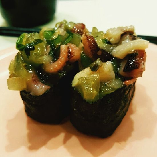 """Squid with wasabi. Gives you instant """"high"""" when the wasabi hits you."""