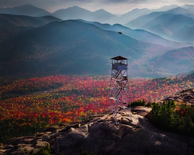 New York Fire Tower Adirondack Mountains Mountain Beauty In Nature Scenics - Nature Architecture Tranquil Scene Built Structure Tranquility Nature Landscape Land Mountain Range