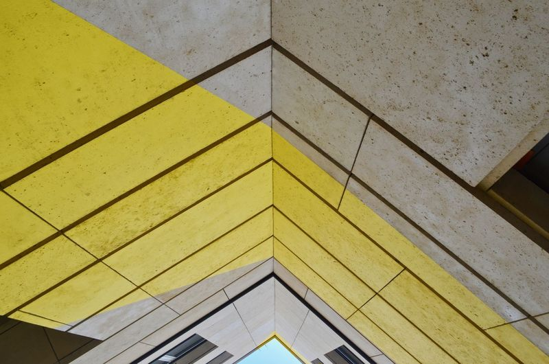 c o r n e r e d Outdoors Paris Architecture Modern Colors Colorful Textured  Texture Yellow Built Structure Pattern Full Frame No People Geometric Shape Backgrounds Indoors  Wall - Building Feature Ceiling Building Low Angle View Shape Design Day Flooring Wall Textured  Abstract Tiled Floor Directly Below Corner Angles Straight Streetphotography Street Lines Lines And Shapes The Architect - 2019 EyeEm Awards