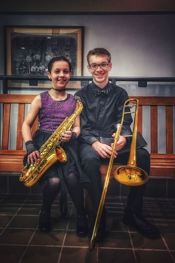 Introducing Sharpe & Flatt ... my musical duet✨🥴🎷👧🏻🎶👦🎺🥴✨ Trombone Saxophone Tadaa Community Music Musical Instrument Performance Playing Musician Arts Culture And Entertainment Saxophone Indoors  Two People Musical Equipment Togetherness Portrait Happiness