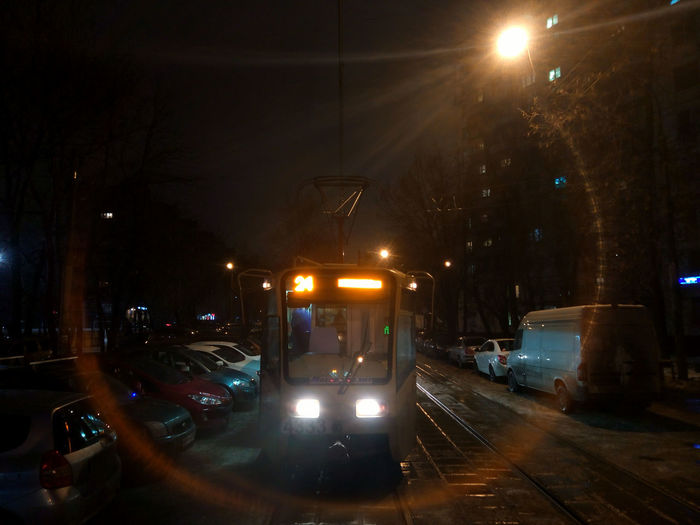 трамвайчик Трамвай  Moscow метро Tramway Tram Rails Москва Новогиреево Night Lights огниночногогорода Night Light Photography выдержка свет Light Night Illuminated City Life Car City Mode Of Transport Transportation