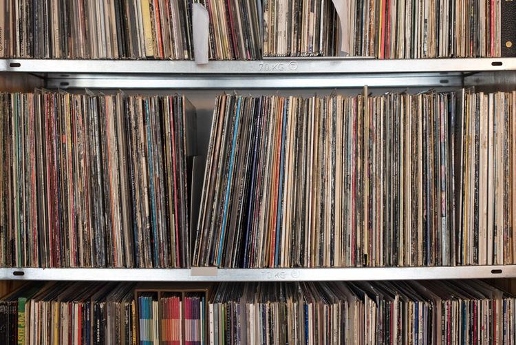 Full frame shot of shelf with records