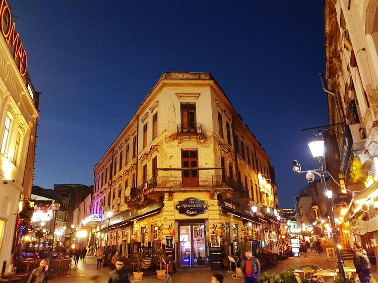 Illuminated Architecture Travel Destinations Building Exterior Sky City People Bucharest, Romania Old City Balkans Europe Europe
