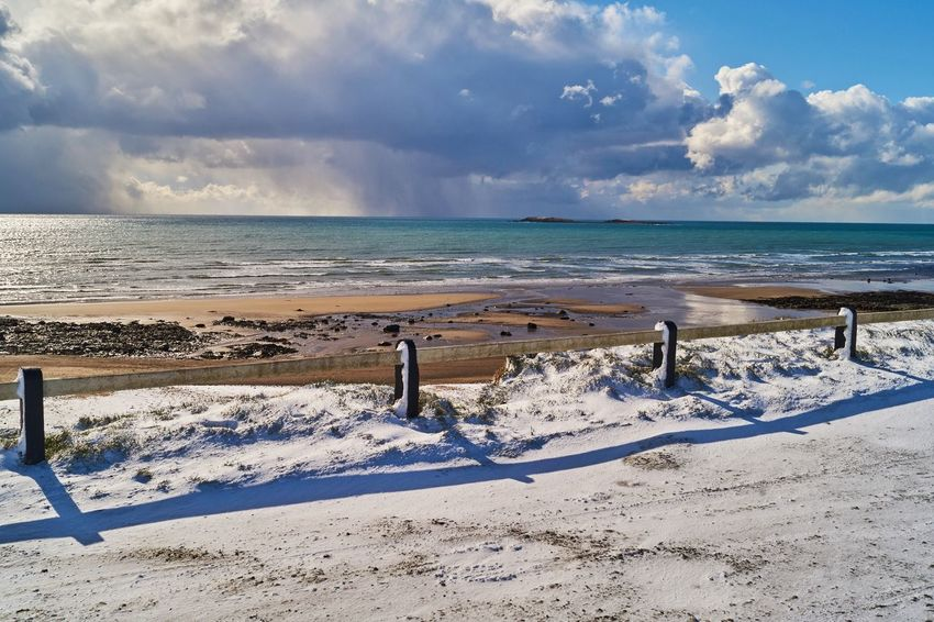 Cullenstown Beach in Wexford Ireland covered in snow. Bannow Cullenstown Ireland🍀 Wexford Ireland Winter Beach Beauty In Nature Cloud - Sky Day Horizon Over Water Nature No People Outdoors Sand Scenics Sea Sky Snow Sunlight Tranquil Scene Tranquility Water