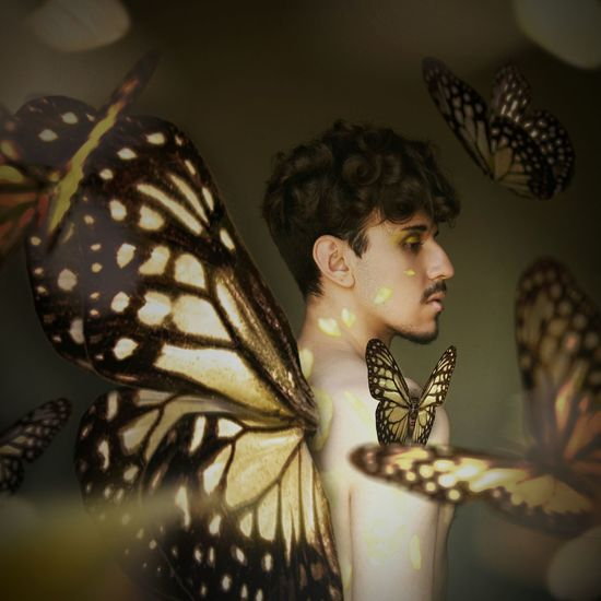 Now I can fly away Wings Creatures Of The Forrest Brown Background Golden Butterfly Surrealism And Fantasy Art Boy Surrealism Surrealist Art Manipulationphotography Portrait Graphic Design Conceitual Shirtless Make-up Gold Colored Beautiful People Fantasy Art Surreal Fantasy Photography Close-up Yellow Flower Beauty Yellow Color