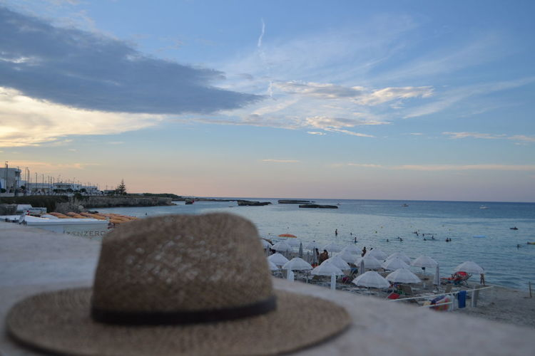 Hat Holidays Relaxing Sunset_collection Beach Beauty In Nature Cloud - Sky Horizon Horizon Over Water Land Nature Nautical Vessel No People Outdoors Salento Sand Scenics - Nature Sea Sea And Sky Sky Sunset Tranquil Scene Tranquility Transportation Water