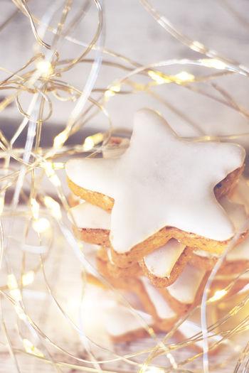 Christmas Golden Light Shiny Xmas Cinnamon Cinnamon Stars Close-up Cozy Decoration Food Food And Drink Led Lights  Light String Stars Sweet Sweet Food