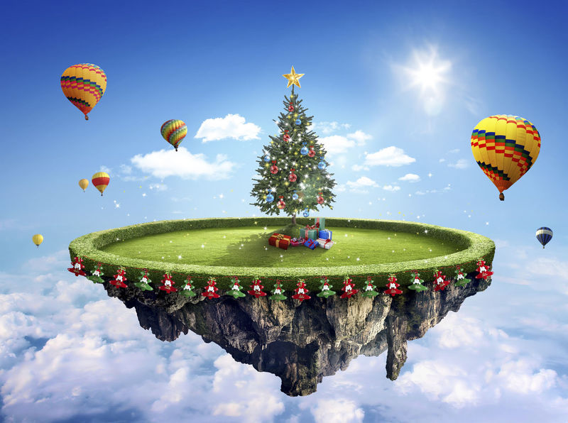 Amazing fantasy scenery with floating islands with Christmas tree, hot balloons and decoration Ballons Ballons In The Sky Beautiful Celebration Float Fun Air Anniversary Backgrounds Beauty In Nature Cloud - Sky Colorful Concept Concept Art Conceptual Day Decoration Design Dusk Fantasy Festive Fields Floating Low Angle View Multi Colored Nature No People Outdoors Parachute Sky Traditional Festival Water
