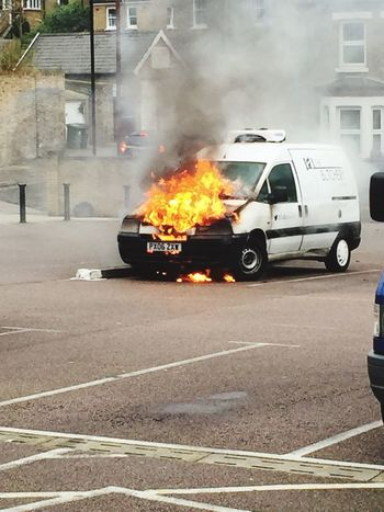 1 minute later Burning Van Van Car Fire Vehicle Fire Fire Forest Hill London Melting Flames Smoke Explosion Smoking Van Smoking Fireman Fire Engine Industry
