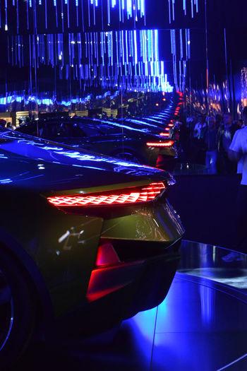 Close-up Conceptcar Ds DS E-Tense French Car Green Color Indoors  Miroirs Mirrors Paris International Motor Show 2016 Rear Lights