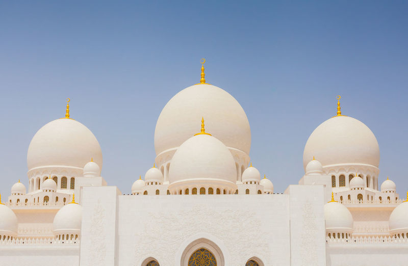 Dome Building Exterior Sky Architecture Built Structure Religion Belief Spirituality Building No People Clear Sky Place Of Worship White Color Nature Blue Arch Travel Destinations Day Travel Outdoors Sheikh Zayed Grand Mosque Abu Dhabi