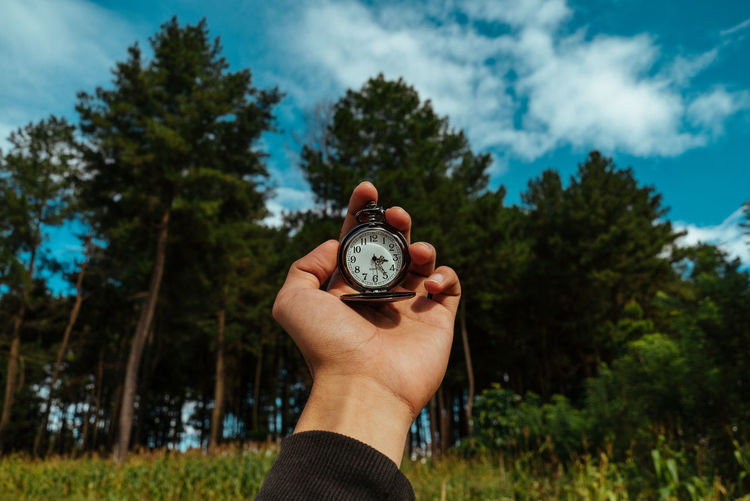 Cropped hand of person holding pocket watch against trees