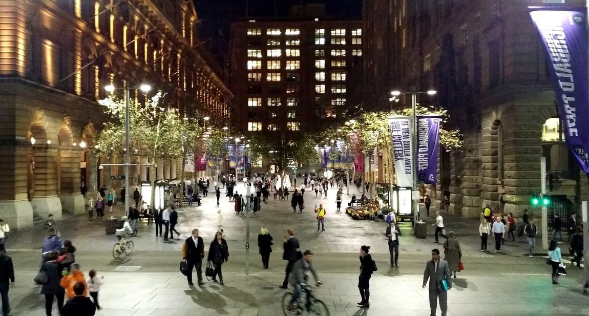 Thursday night 6PM - Martin Place. Think of all the stories being told. People Watching Architecture Sydney Martin Place