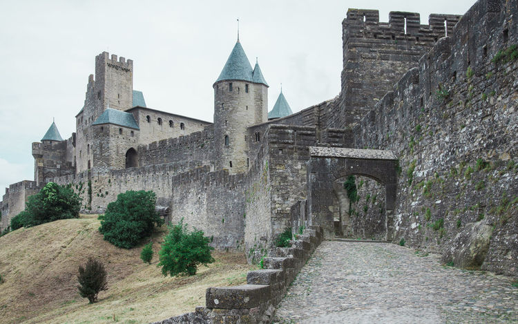 Ramparts, walls and turrets, Carcassonne, France Ancient Architecture Building Exterior Built Structure Carcassonne Castle Castle Walls Day France History Low Angle View No People Outdoors Travel Destinations