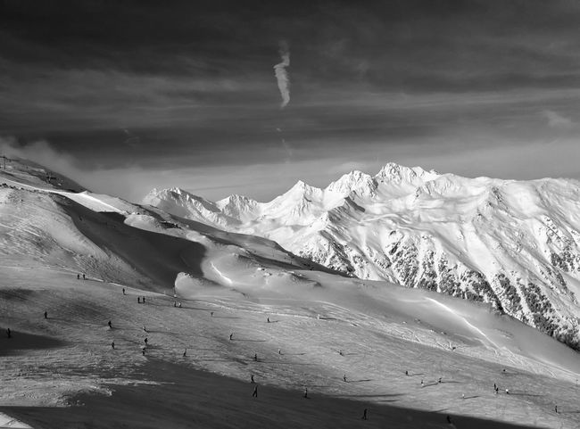 Austria Serfaus Alps Beauty In Nature Black And White Blackandwhite Cloud - Sky Cold Temperature Day Landscape Mountain Nature No People Outdoors Scenics Sky Snow Tranquil Scene Tranquility Winter