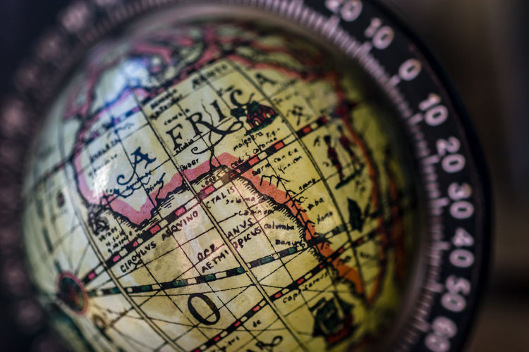 Map of Africa on globe map. Close up map of Africa on vintage globe map, macro. Country Geography Land Africa Border Close-up Conceptual Continent Detailed Globe Hemisphere Illustration Latitude Longitude Map Nation No People Object Ocean Old Outline Planet Planet Earth Political Vintage