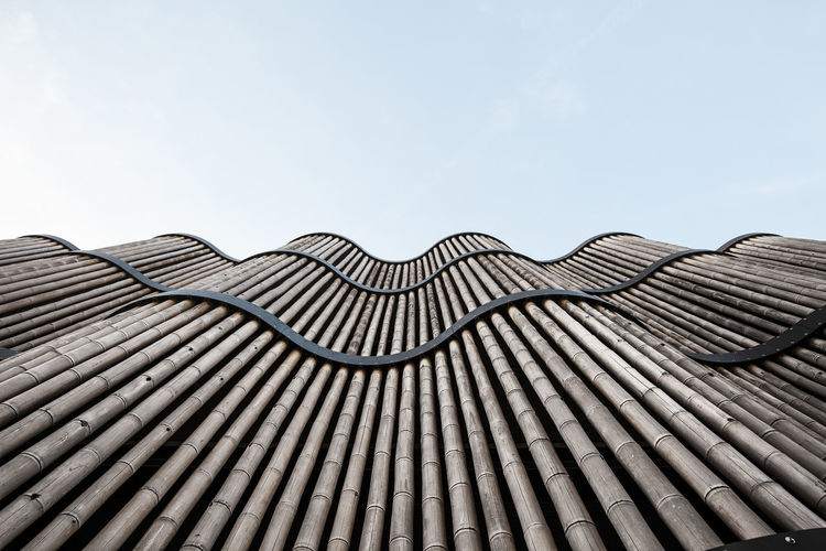 Bamboo roof against clear sky