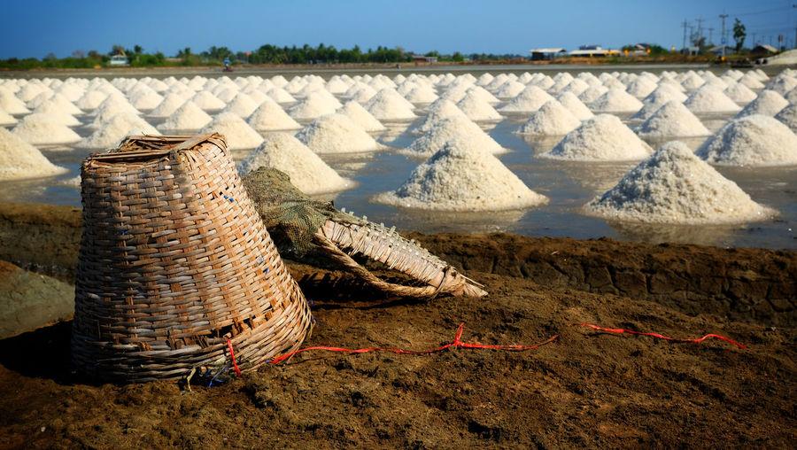 Sea salt fields local farm industry in thailand.