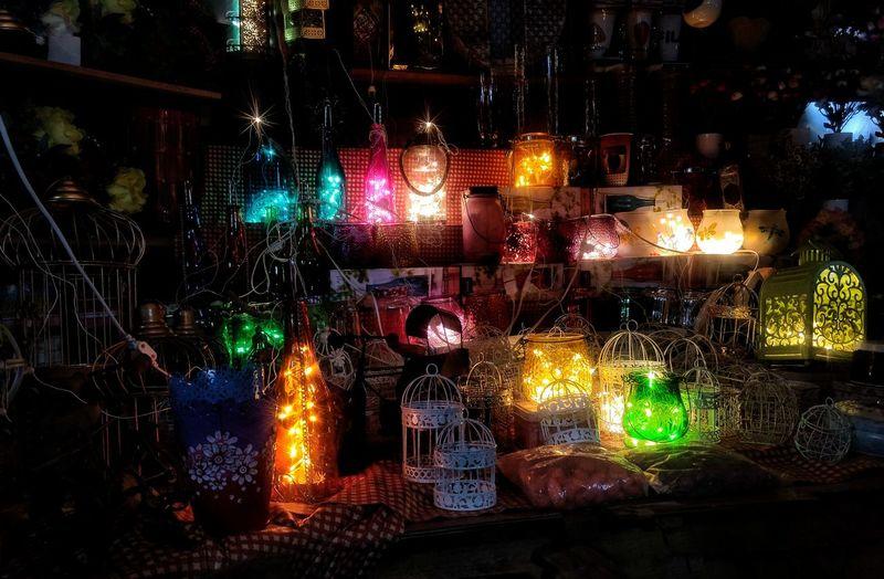 Light It Up ❤ Night Illuminated No People Outdoors Multi Colored Close-up G4plus Mobileshot EyeEm Diversity EyeEmNewHere Colours Colourfull Bottles Fairylights Darkness Market Streetshopping Streetphotography