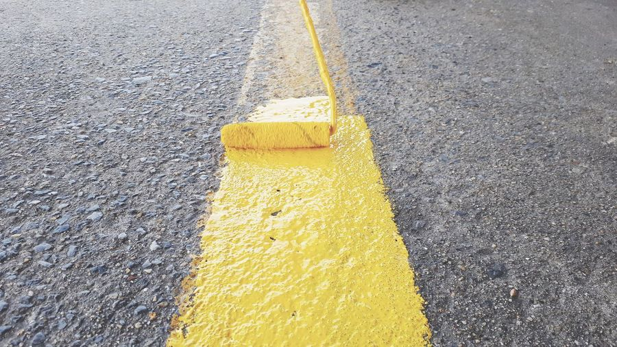 Painted floor Yellow Road Close-up Food And Drink Yellow Line Powder Paint White Line Roadways Double Yellow Line Cleaning Equipment Vehicle Countryside Country Road