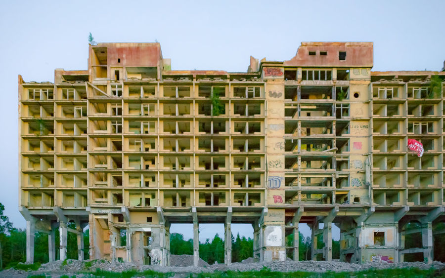 Abandoned Apartments Architecture Arrested Development Blue Building Built Structure Decay Dusk Façade Graffiti Halted Huge Low Angle View Massive Outdoors Sky Soviet Unfinished Urban Decay The Graphic City