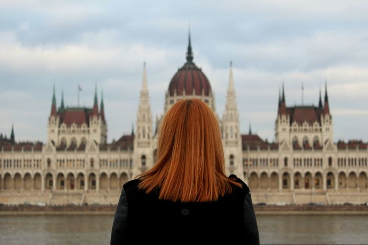 Only Women Travel Destinations Travel Architecture City One Woman Only Building Exterior Women Outdoors Young Women One Person Cloud - Sky Parlament Of Hungary Danube Budapest, Hungary Budapest Travel Mypointofview Looking Away Back Hair Connected By Travel