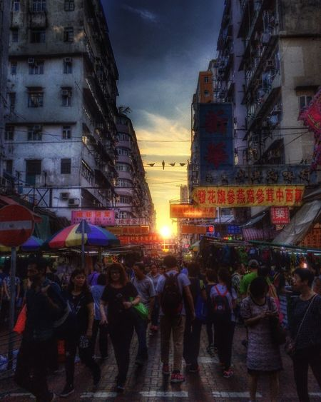 Sunset Sunlight HongKong Lifestyles HDR HDR Collection Streetphotography 852 Building Exterior Architecture Built Structure Large Group Of People Real People Sky Illuminated Women City Men Outdoors Leisure Activity Night Crowd People First Eyeem Photo