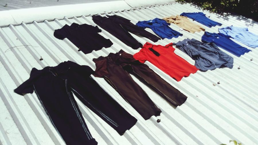 High angle view of clothes drying