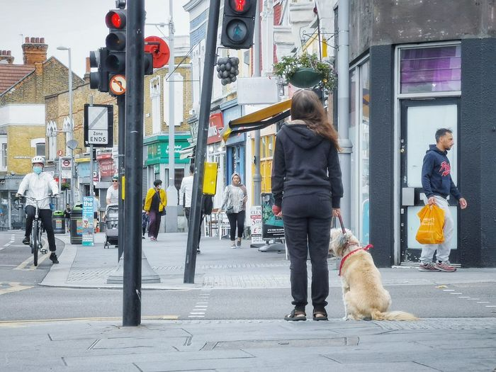 Women walking on city street