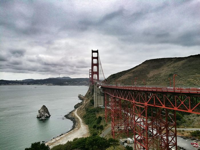 Golden Gate Bridge Against Cloudy Sky
